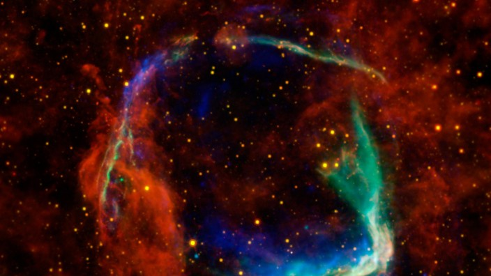 All that remains of the oldest documented example of a supernova, called RCW 86, is seen in this image released by NASA