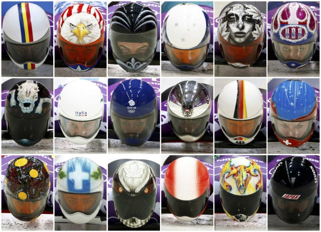 Picture combination shows helmets of eighteen athletes during the men and women skeleton event training at the Sanki sliding center in Rosa Khutor