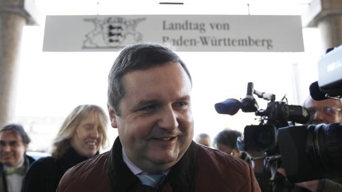 Former Baden-Wuerttemberg premier Mappus (CDU) arrives for hearing at EnBW commission of enquiry in Stuttgart
