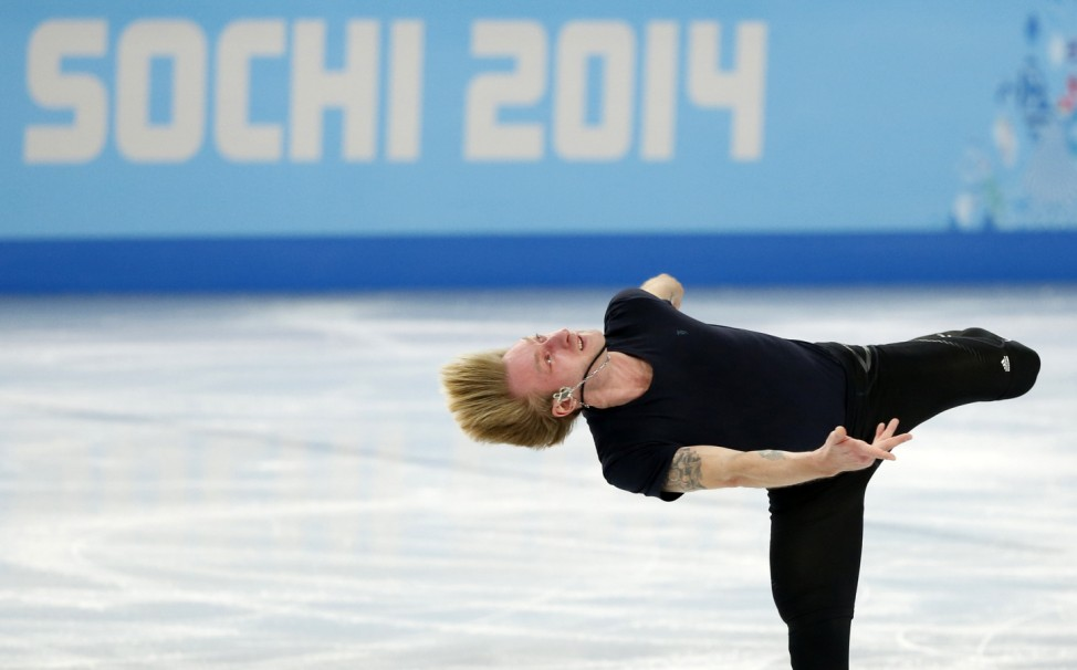 Plushenko of Russia skates during a figure skating training session in preparation for the 2014 Sochi Winter Olympics