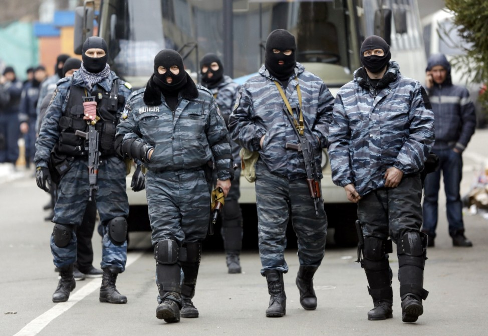 Members of Berkut anti-riot unit prepare to leave their barracks in Kiev