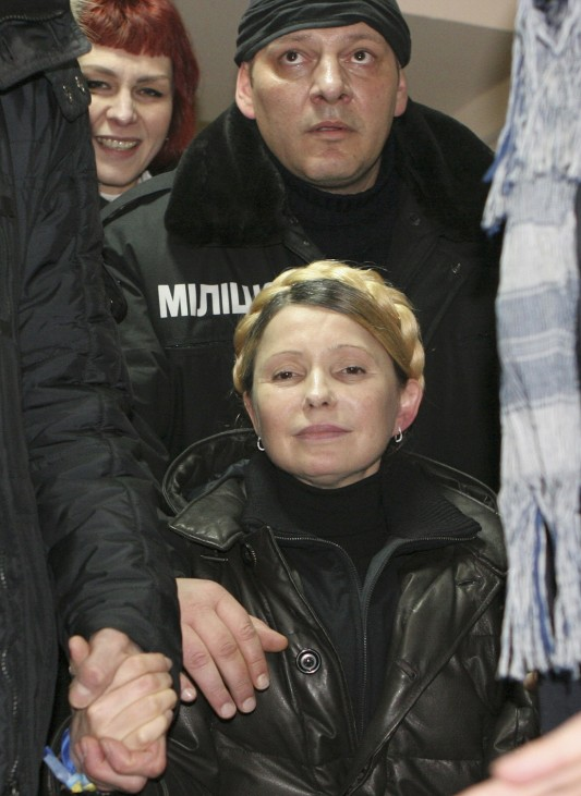 Ukrainian opposition leader Tymoshenko reacts after she was freed in Kharkiv