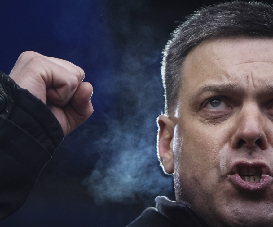 Head of the All-Ukrainian Union Svoboda (Freedom) Party Tyagnibok attends an anti-government rally in Kiev