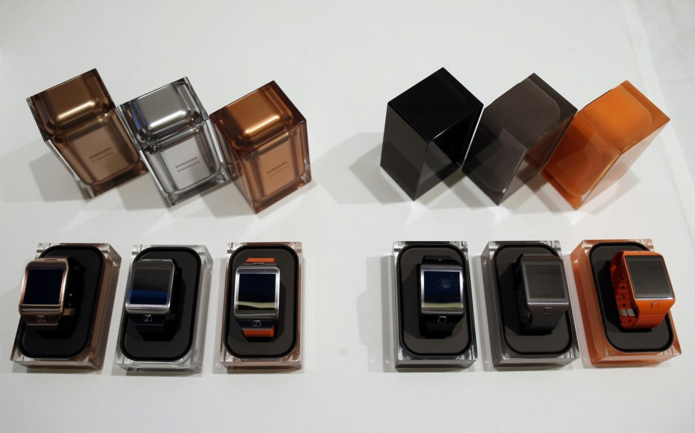 New Samsung Gear 2 smartwatches are seen on a display at the Mobile World Congress in Barcelona