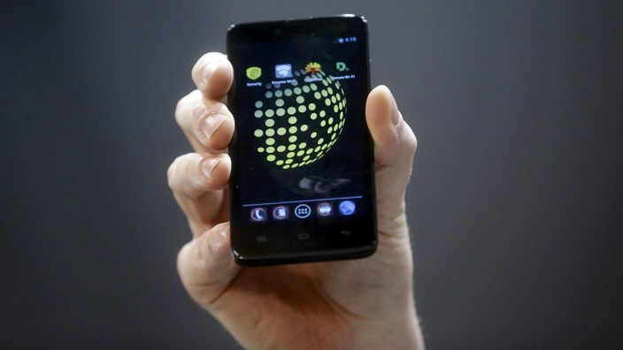 The Blackphone, an Android software-based mobile which encrypts texts, voice calls and video chats, is displayed after being launched during the Mobile World Congress in Barcelona