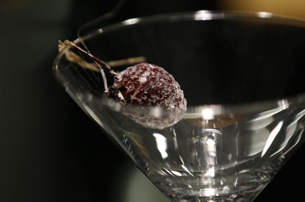 A microphone is concealed inside an artificial cherry placed in a martini glass at the 'Top Secret' Spy Museum in Oberhausen