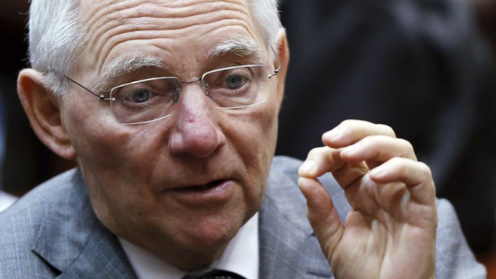 Germany's Finance Minister Schaeuble speaks during a EU finance ministers meeting in Brussels