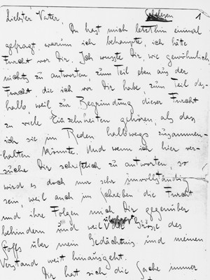 Brief in Faksimile und Transkription: © Joachim Unseld: Franz Kafkas Brief an den Vater, Hamburg, 1968