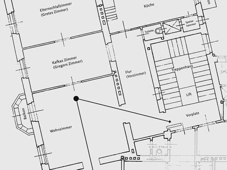 """Grundriss der Wohnung im Mietshaus """"Zum Schiff"""", Foto: © Hartmut Binder"""