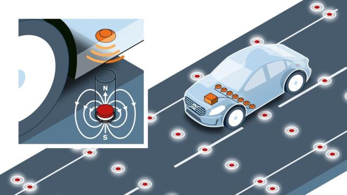 Volvo testet Fahrbahnmagnete zur Positionsbestimmung von Fahrzeugen.