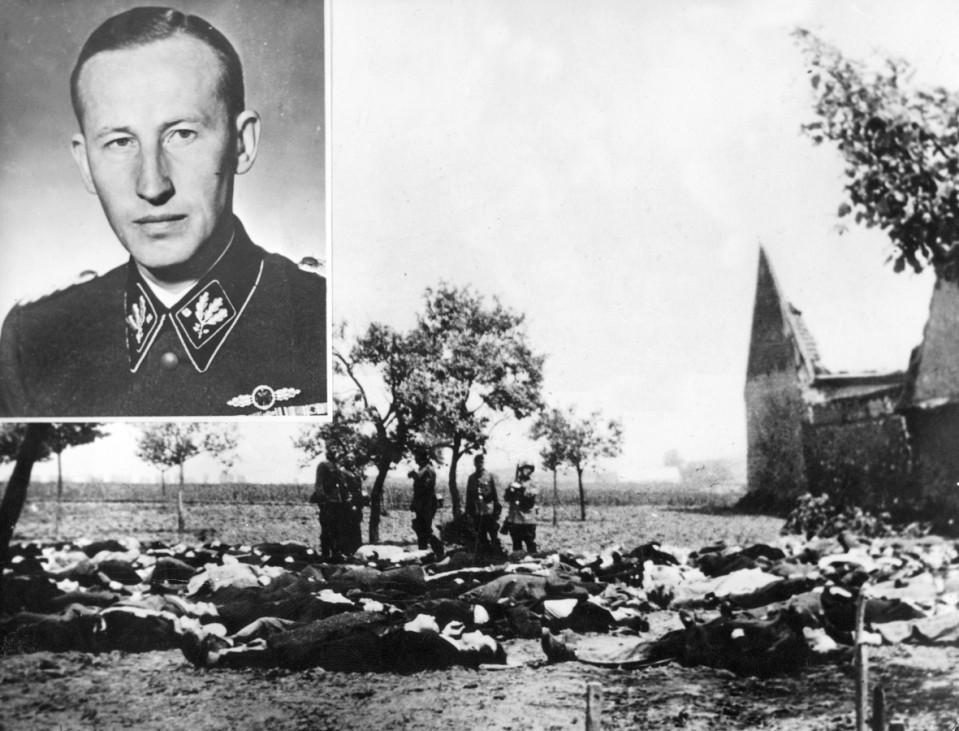 Leichen bei Lidice nach  Attentat auf Reinhard Heydrich, 1942