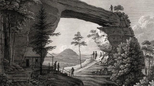 Kupferstich von Christian Gottlob Hammer aus der 1. Hälfte des 19. Jahrhunderts: Das Prebischtor markierte früher den Schlusspunkt des Malerwegs.