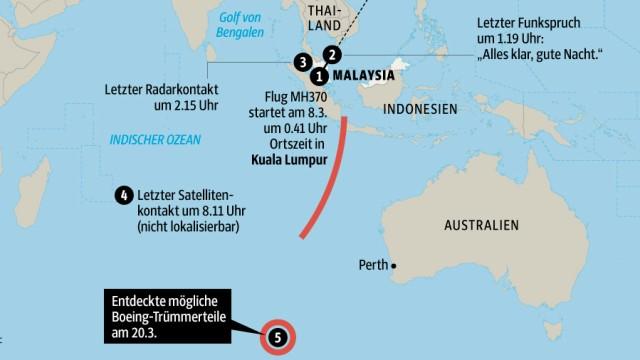 Flugzeug Karte Malaysia Airlines MH370
