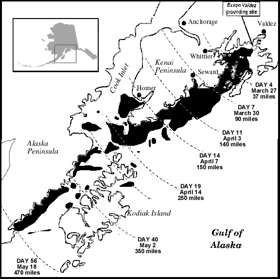 Karte des Ölunglücks der Exxon Valdez