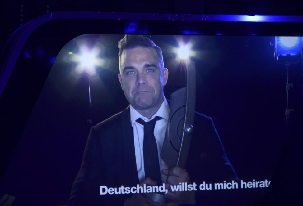 British singer Williams speaks via video during the 2014 Echo Music Awards in Berlin