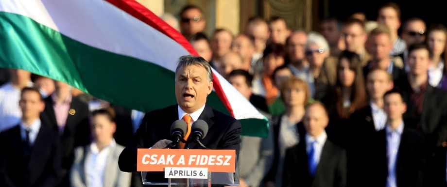 Hungarian Prime Minister Orban delivers a speech during an election rally of ruling Fidesz party in Budapest