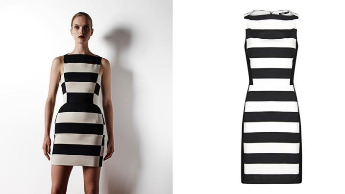 Kopien in der Mode: Ein Kleid, ein Statement: Schwarze und weiße Blockstreifen, arrangiert von Lanvin (oben) und von Mango (rechts).