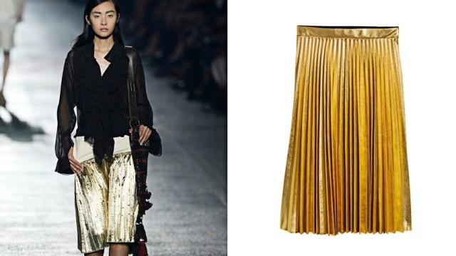 Kopien in der Mode: Dieser goldfarbene, plissierte Lamérock gehört zur aktuellen Kollektion des belgischen Designers Dries Van Noten. Ein erstaunlich ähnliches Exemplar gibt es bei H&M - für weniger als zehn Prozent des Preises. Fotos: dpa, PR