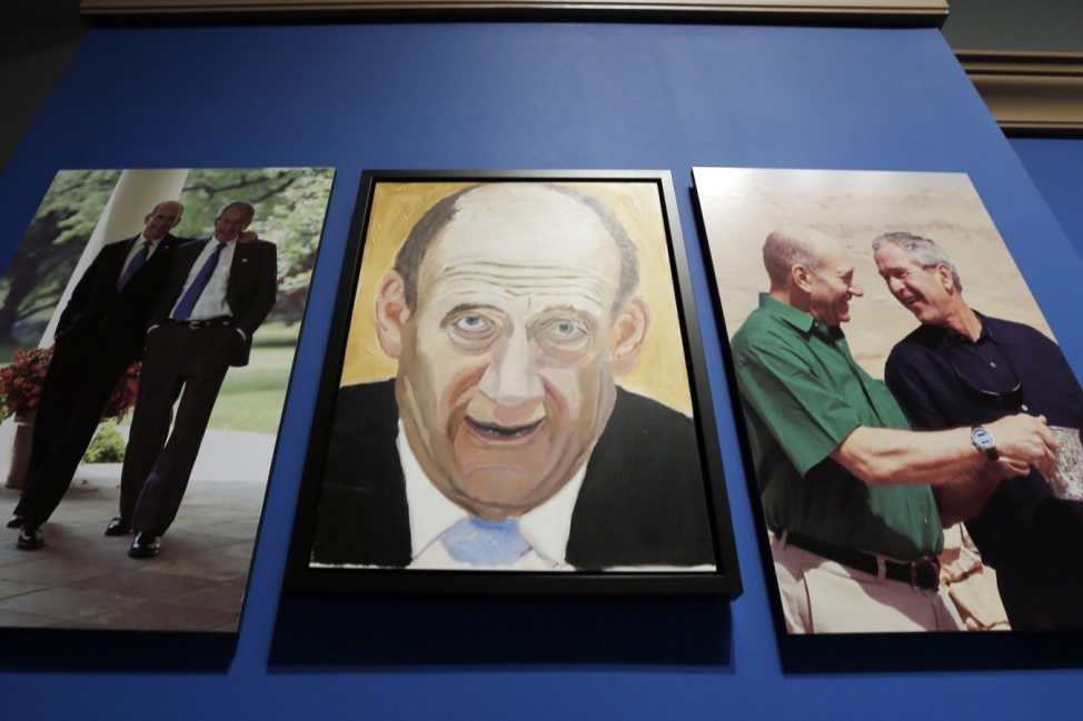 A portrait of former Israeli Prime Minister Olmert painted by former U.S. President Bush, hangs on display during 'The Art of Leadership: A President's Personal Diplomacy' exhibit at the George W. Bush Presidential Library and Museum