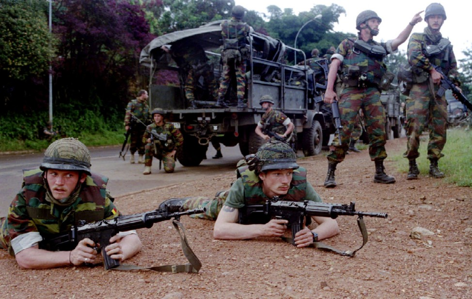 File photo of Belgian troops preparing to inspect the city of Kigali