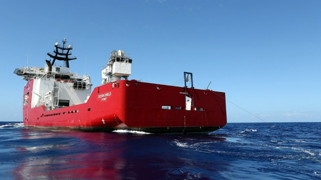 The towed pinger locator (TPL-25) is towed behind the Australian Defence Vessel Ocean Shield in the southern Indian Ocean during the search for the flight data recorder and cockpit voice recorder of the missing Malaysian Airlines flight MH370