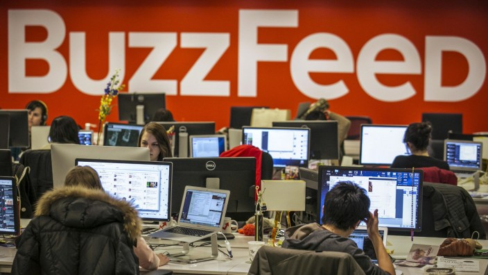 Buzzfeed employees work at the company's headquarters in New York