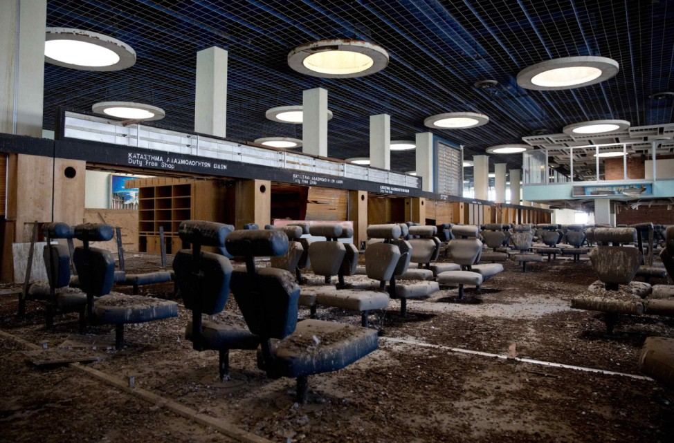The passenger departure area is seen at the abandoned Nicosia International Airport near Nicosia