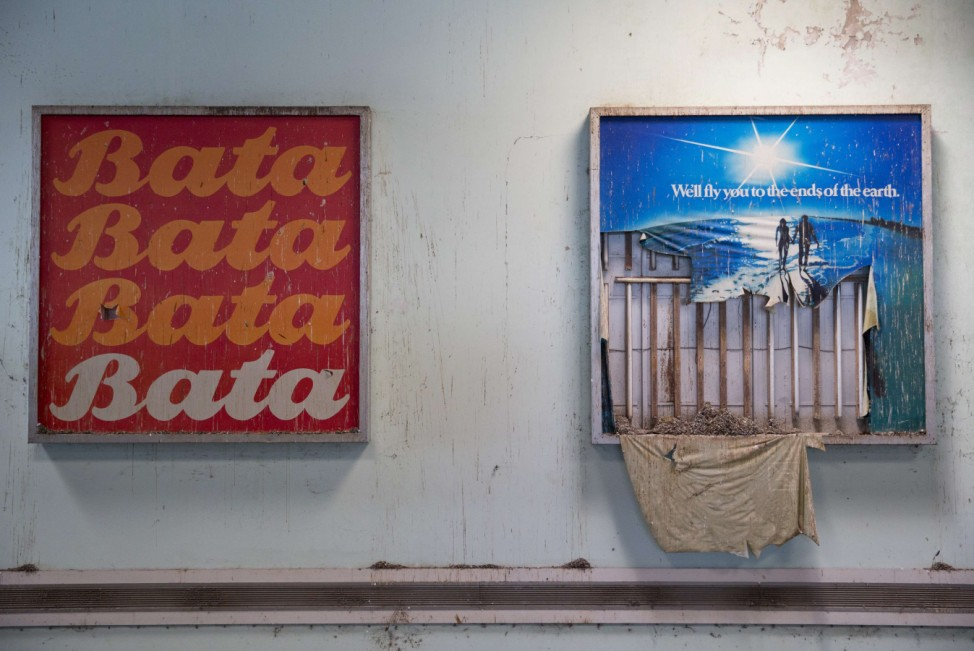 Advertising billboards are seen at the abandoned Nicosia International Airport near Nicosia