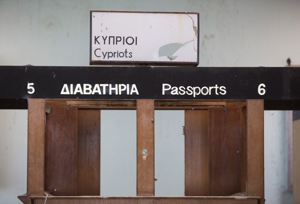 Immigration counters are seen at the abandoned Nicosia International Airport near Nicosia
