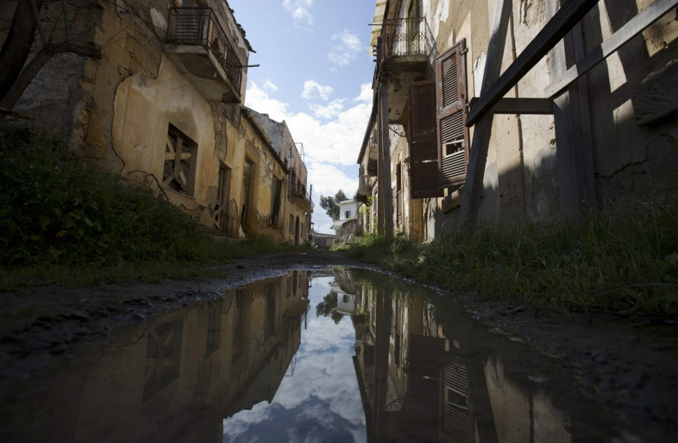 A former residential street lies abandoned in the United Nations buffer zone in central Nicosia