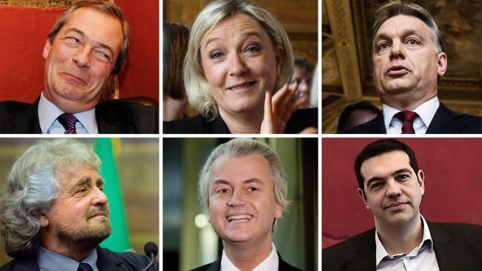 Populismus in Europa: Sie stehen der EU eher skeptisch gegenüber: Nigel Farage, Marine Le Pen, Viktor Orbàn, Alexis Tsipras, Geert Wilders und Beppe Grillo (im Uhrzeigersinn).