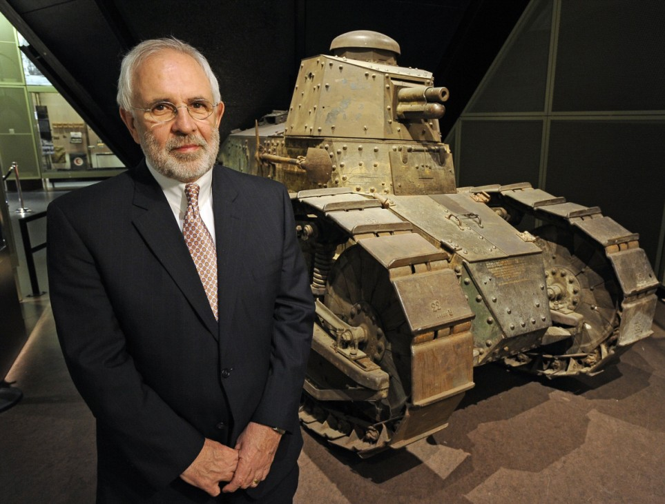 CEO Alexander stands in front of a Renault FT-17 tank at the National World War I Museum in Kansas City, Missouri