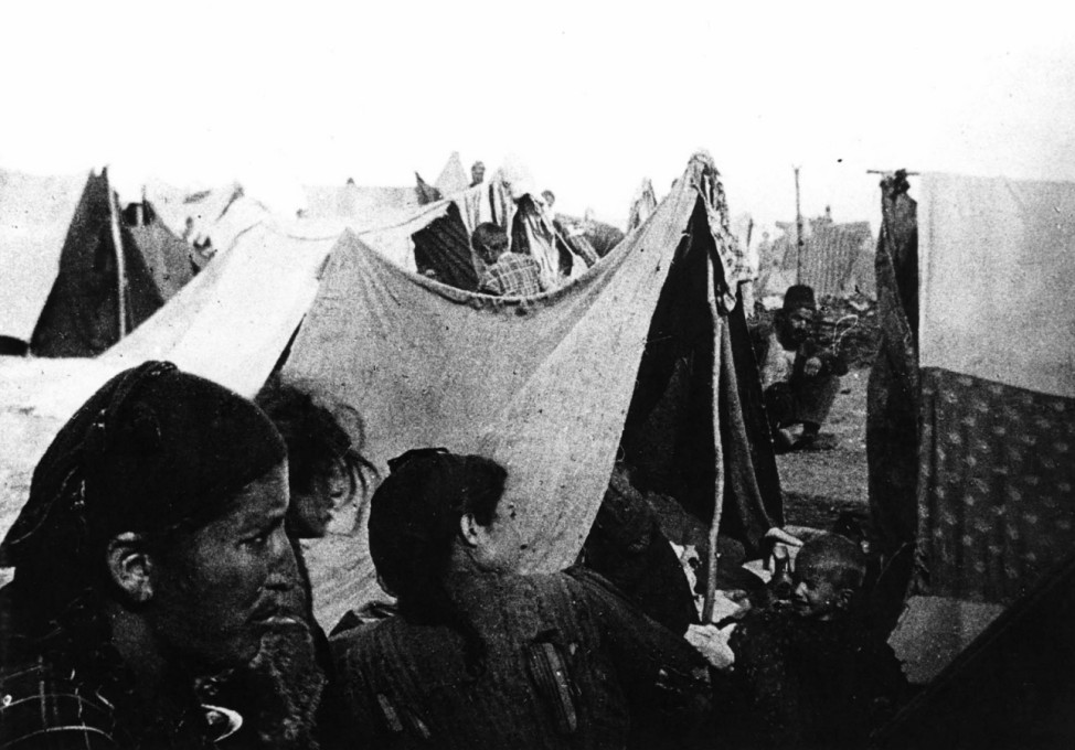 Undated handout photo of Armenians in a tent camp in the Syrian desert