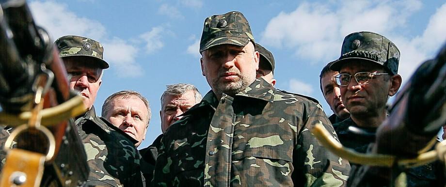 Ukrainian acting President Turchynov visits a military exhibition near the settlement of Desna in Chernigov region
