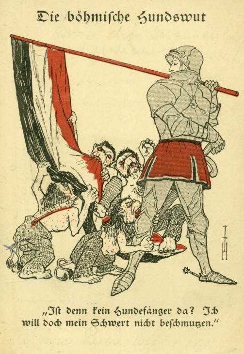 Postkarte 'Die böhmische Hundswut', 1914-1918   Postcard 'Die boehmische Hundswut'