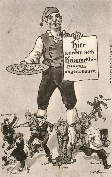 Deutsche Karikatur auf den Kriegsausbruch, 1914