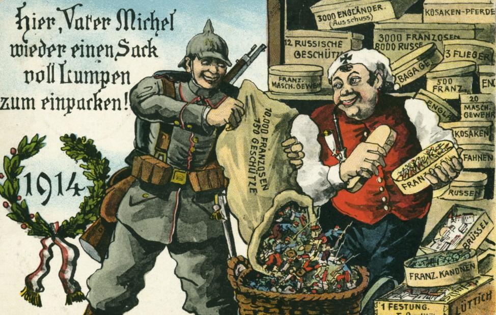 Postkarte 'Hier,  Vater Michel, wieder einen Sack voll Lumpen zum einpacken!', 1914   Postcard 'Hier, Vater Michel, wieder einen Sack voll Lumpen zum einpacken!', 1914