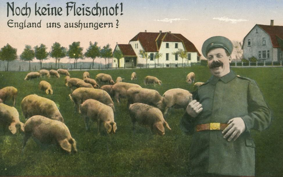 Postkarte  'Noch keine Fleischnot! England uns aushungern?', 1915   Postcard 'Noch keine Fleischnot! England uns aushungern?', 1915