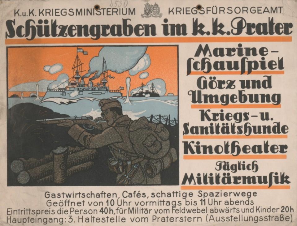 """Schützengraben im k. k. Prater"" Plakat Wien, um 1916"