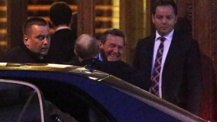 Former German chancellor Gerhard Schroeder birthday reception in