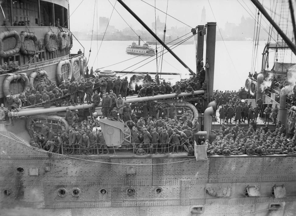 US-Truppen kehren nach New York zurück, 1919