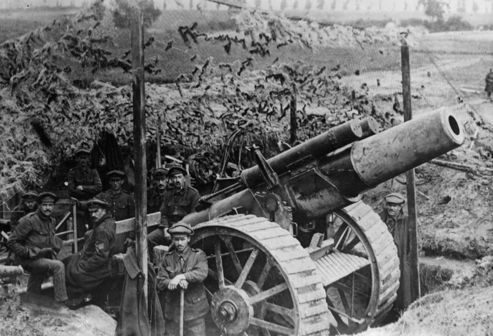 Britische Artilleriestellung an der Westfront, 1918