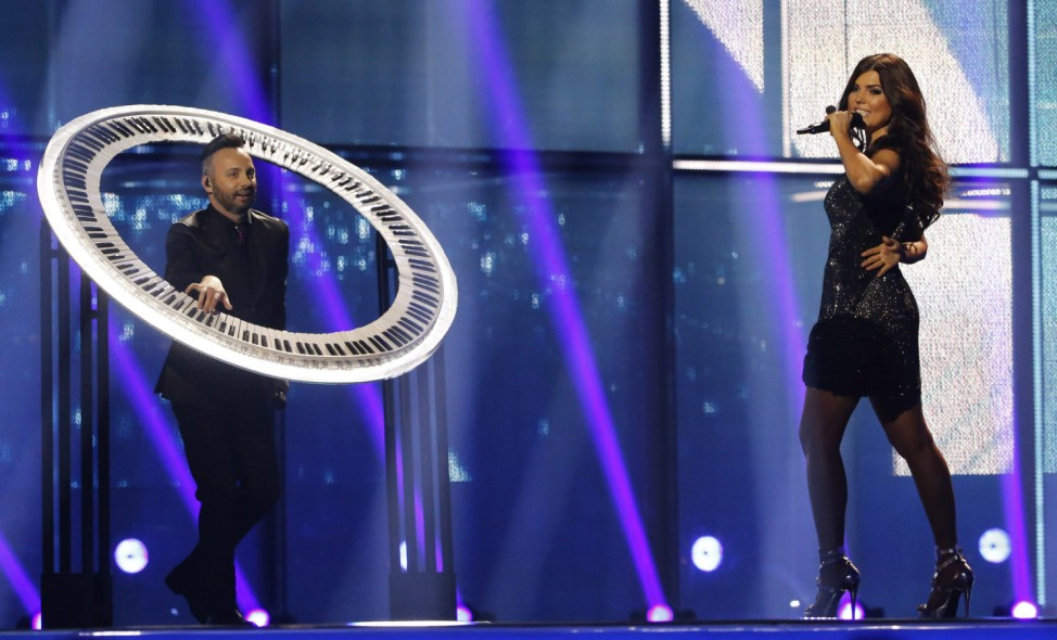 Paula Seling & OVI representing Romania perform the song 'Miracle' during second semi-final at 59th annual Eurovision Song Contest in Copenhagen