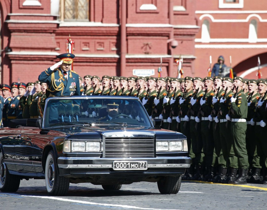 Russian Defence Minister Shoigu salutes during the Victory parade in Moscow's Red Square