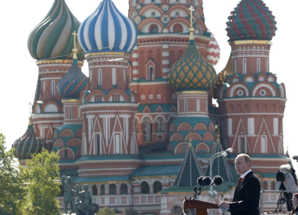 Russian President Putin makes a speech before the Victory parade in Moscow's Red Square