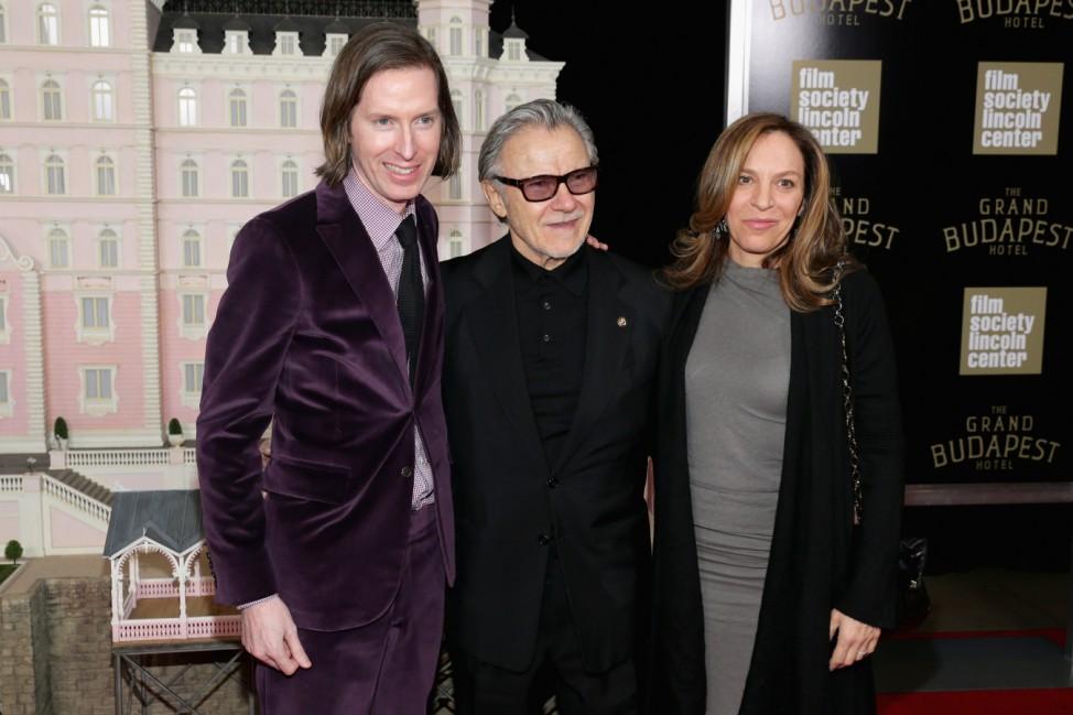 """Regisseur Wes Anderson, Harvey Keitel und seine Frau Daphna Kastner bei der Filmpremiere von """"The Grand Budapest Hotel""""."""