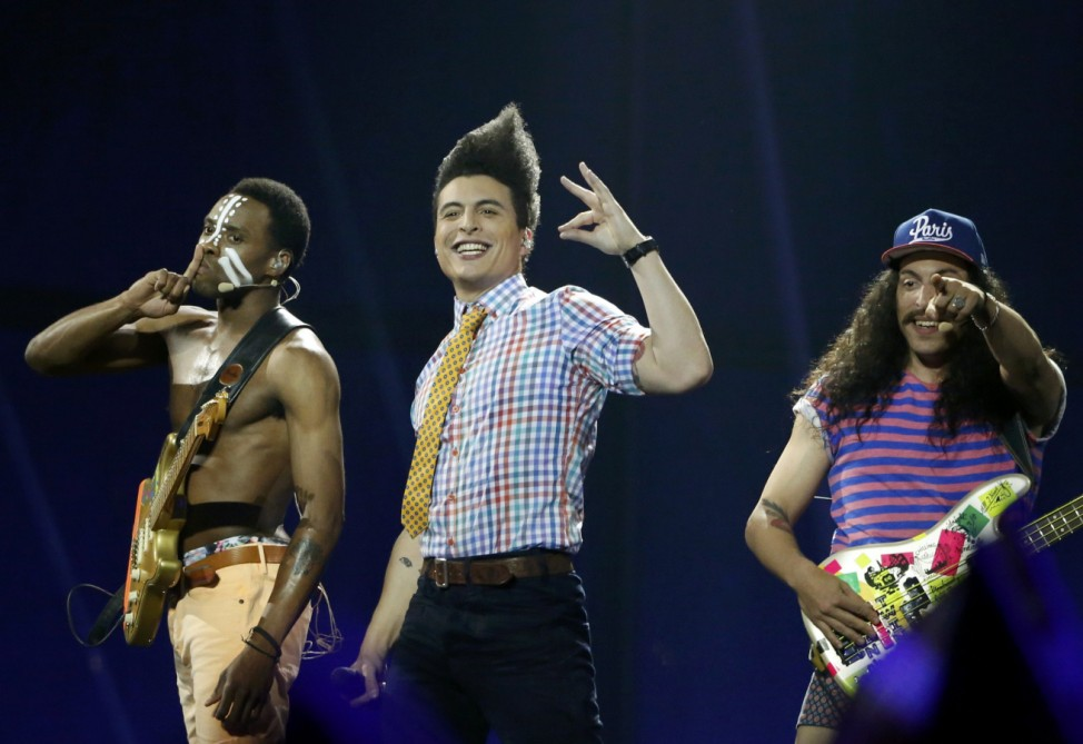 The band Twin Twin representing France perform during grand final of the 59th Eurovision Song Contest in Copenhagen