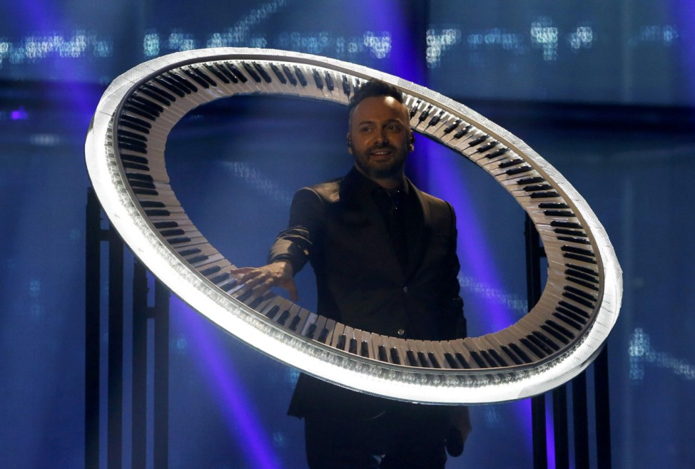 Paula Seling & OVI representing Romania perform during grand final of the 59th Eurovision Song Contest in Copenhagen