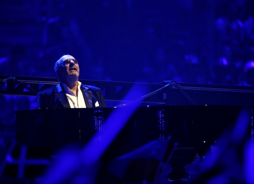 Siegel German composer and songwriter plays piano during performance of Singer Valentina Monetta representing San Marino during grand final of the 59th Eurovision Song Contest in Copenhagen