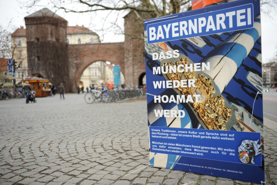 Wahlplakat der Bayernpartei in München, 2014